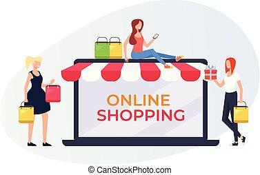 bolt, támasz, tervezés, mosolygós, háló, concept., betű, online, boldog, lakás, woman bevásárol, poszter, internet, ábra, store., transzparens, karikatúra, grafikus, vektor, gyártás, oldal