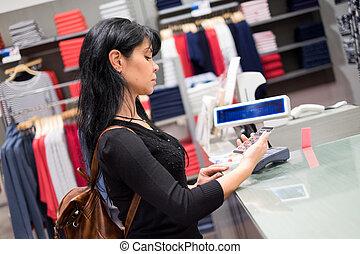 bolt, telefon, mozgatható, őt kiegyenlít, payment., használ, leány
