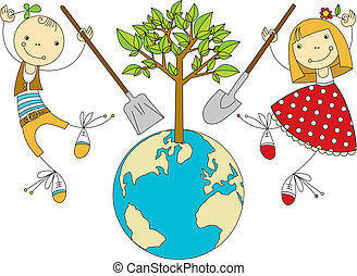 bolygó, berendezés, gyerekek