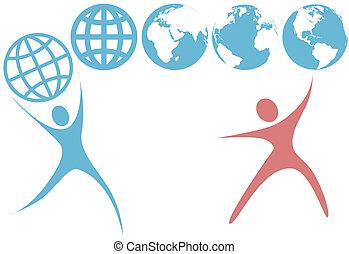 bolygó, emberek, földgolyó, feláll, jelkép, swoosh, földdel feltölt, befolyás