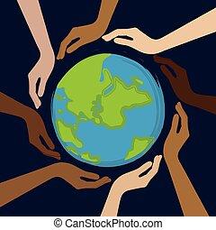 bolygó, emberi, befest, bőr, középső, különböző, kézbesít, földdel feltölt