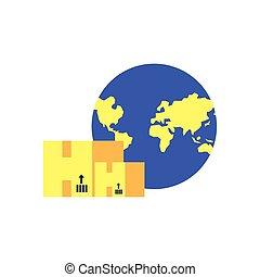bolygó földdel feltölt, dobozok, állhatatos, kartondoboz