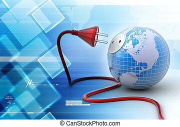 bolygó földdel feltölt, elektromos, kábel