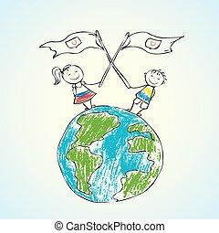 bolygó földdel feltölt, gyerekek