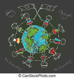 bolygó földdel feltölt, multicultural, gyerekek