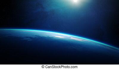 bolygó földdel feltölt, napkelte, hely