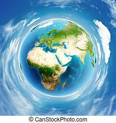 bolygó földdel feltölt, tényleges, megkönnyebbülés