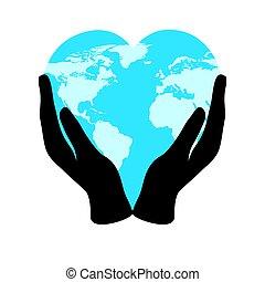 bolygó, hatalom kezezés, nature., világ, földdel feltölt, szeret, elszigetelt, környezet, fehér, törődik, heart-shaped, transzparens, nap, respektál