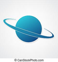 bolygó, kék, ikon