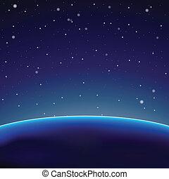 bolygó, sötét háttér, (vector), hely
