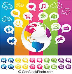 bolygó, színes, földdel feltölt, társadalmi, média