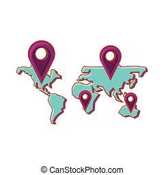 bolygó, térkép, irányzók, elhelyezés, földdel feltölt