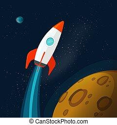 bolygók, kép, bolygó, vektor, külső, vagy, felszín, rakéta, űrhajó, karikatúra, repülés, hold, ábra, lakás, rocketship, világegyetem, mars, hely