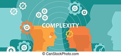 bonyolultság, vektor, gondolkodó, ábra, fogalom, fej