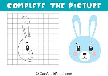 book., picture., befejez, másol, page., játék, elfoglaltság, film, színezés, bunny., művészet, gyerekek