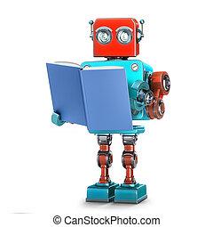 book., robot, isolated., darabka, ábra, felolvasás, út, 3