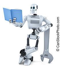 book., robot, isolated., tartalmaz, darabka, felolvasás, út