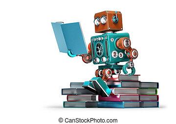 book., robot, isolated., tartalmaz, retro, darabka, felolvasás, út