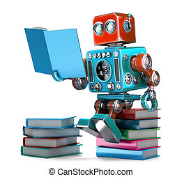 books., illustration., robot, isolated., tartalmaz, retro, darabka, felolvasás, út, 3