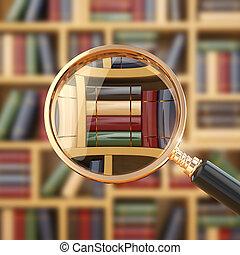 books., lupe, kutató, library.