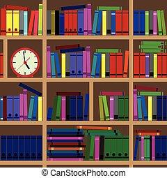 books., megtöltött, polc
