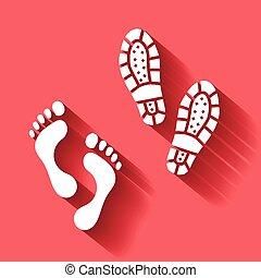 bootprint, vektor, elszigetelt, emberi, lábnyom, árnyék, lábfej