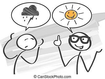 borúlátó, vs, optimista