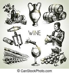 bor, állhatatos, vektor, skicc, kéz, húzott