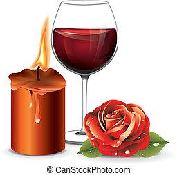 bor, gyertya, rózsa