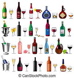 bor palack, talpas pohár, állhatatos, fehér