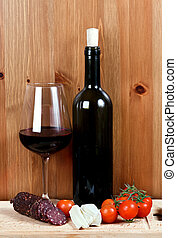 bor, sajt, kolbász, palack, wineglass