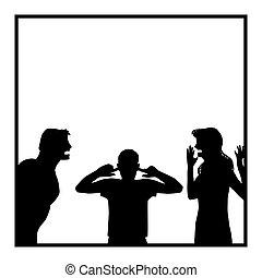 bosszús, vita, fiú, család, szülők, vita