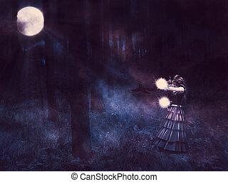 boszorkány, éjfél, erdő
