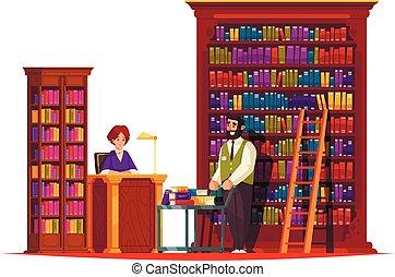 bot, öreg, zenemű, könyvtár