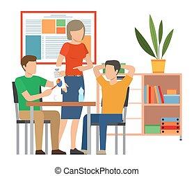 bot, csatlakozó, fogalom, együtt, gyűlés, hivatal., businesspeople, dolgozó, beszéd
