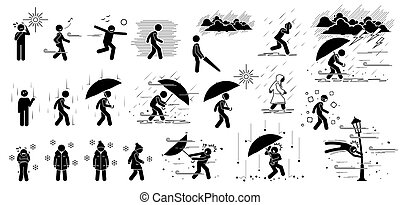 bot, emberek, icons., pictogram, körülmények, alak, klíma, időjárás, visszahat
