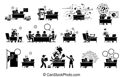 bot, icons., pictogram, vagy, alak, üzletember, végrehajtó, munkás, hivatal, ceo, elfoglalt
