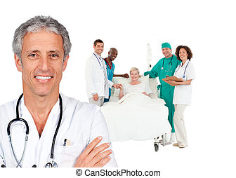 bot, orvos, mosolygós, mögött, türelmes, ágy, őt, orvosi