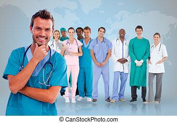 bot, orvos, orvosi, mögött, őt, boldog