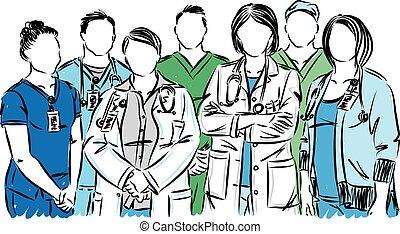 bot, orvosi, vektor, betegápolók, ábra, orvosok