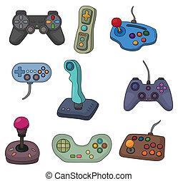 botkormány, játék, állhatatos, ikon, karikatúra