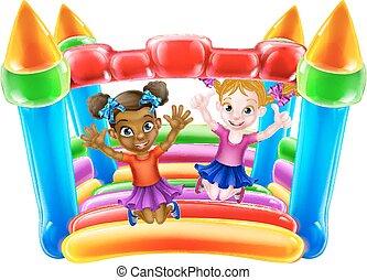 bouncy, gyerekek, bástya