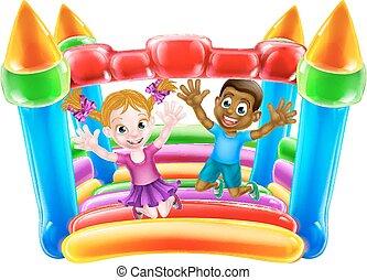 bouncy, gyerekek, bástya, játék