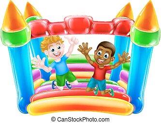 bouncy, gyerekek, bástya, ugrás