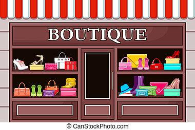 boutique., vektor, mód, ábra