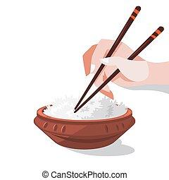 bowl., rizs, kínai, tál, asian táplálék, gabona