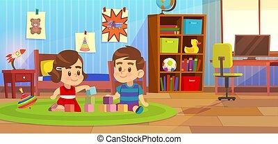 boy., gyerekek, apró, szoba, berendezés, barát, otthon, karikatúra, gyermek, preschool, játék, óvoda, hálószoba, gyermekszoba, szőnyeg, ülés, ábra, vagy, gyerekszoba, fogalom, vektor, szoba