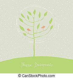 branches., fa, madarak, zöld, vektor, eps8.