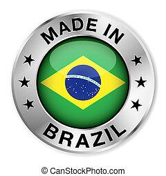 brazília, elkészített, jelvény, ezüst