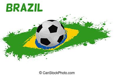 brazília, futball, lobogó, labda, grunge